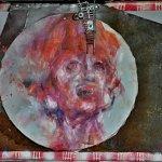 objekt,kombinace plech,ocel+malba akryl na plátně,formát-46,5*70cm