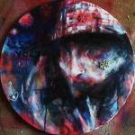 akryl,spray a asambláž na plátně,formát-40*40cm