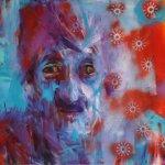 akryl a sprej na plátně,formát-50*70cm