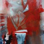 akryl a sprej na nepodrámovaném plátně.formát-45,5*60,5cm