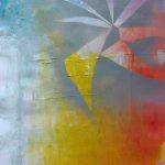 akryl a sprej na nepodrámovaném plátně.formát-45.5*60.5cm