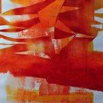 akryl a sprej na nepodrámovaném plátně.formát-45,5*60.5cm
