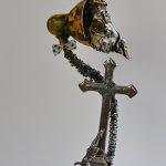 kombinovaná technika, výška-64cm, šířka kříže-15,5cm,neprodejné průměr globu-18cm