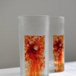diptych dekorovaných sklenic, malba na skle+gravírování, objem 200ml